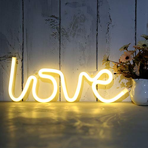 Love Neon Signs, LED Neon Light Battery or USB Operated for for Christmas,Birthday Party, Living Room, Girls,Kids Room (Love)