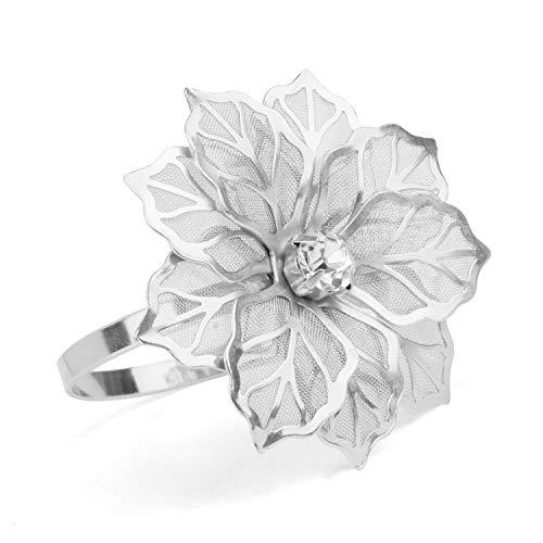 Picowe Set of 12 Alloy Napkin Rings with Hollow Out Flower Napkin Ring Holders for Wedding Party Holiday Banquet Christmas Dinner Delicate Serviette Buckles Decor Favor (Silver)