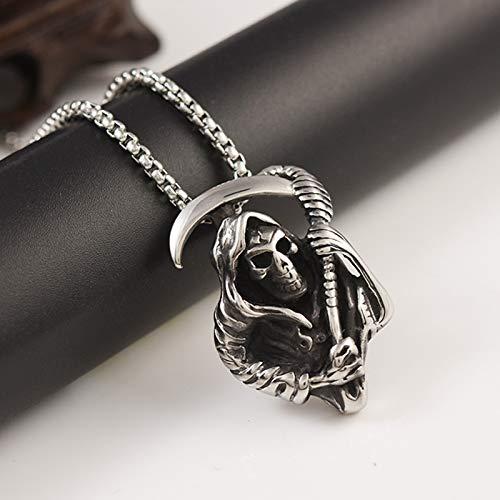 ZZWBOX Herren Halskette Sensenmann Tod Gott Schädel Männer Halsketten Anhänger Kette Gothic Für Jungen Männlich Edelstahl Schmuck Kreativität Geschenk