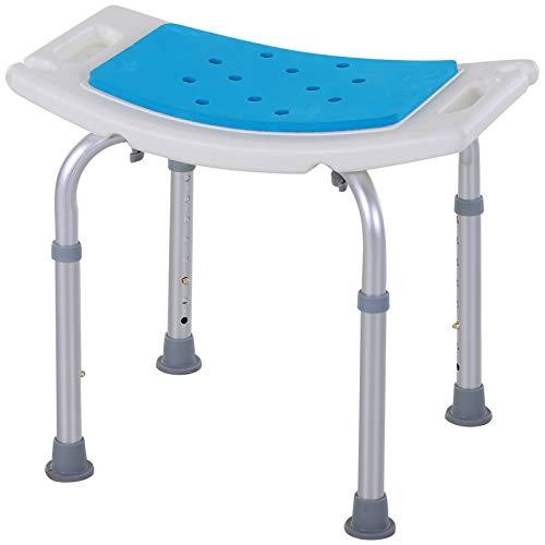 HOMCOM 6-Level Height Adjustable Aluminium Bath Room Stool Chair Shower...