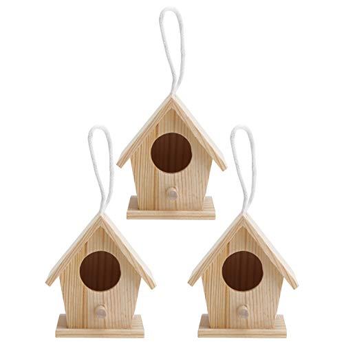 Hemoton Mini Casa para Pájaros de Madera para El Exterior 3 Piezas de Kit de Casa para Pájaros Colgante de Madera sin Terminar para Bodas Artesanales Y Más 7X6. 7X7cm