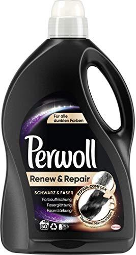 Perwoll Renew & Repair Schwarz & Faser, Flüssigwaschmittel für alle dunklen Farben 1er Pack (50 Waschladungen)