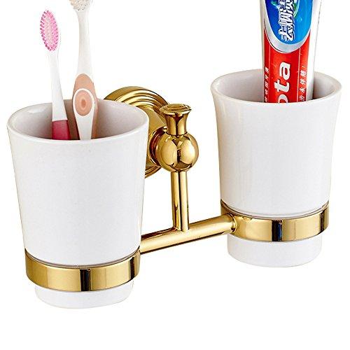 Casuwin Dubbele tandenborstelhouder, keramiek, beker, tandenborstelbeker, houder, tandenborstelbeker, luxe gouden finished, badkamer, accessoires, boren, messing constructie