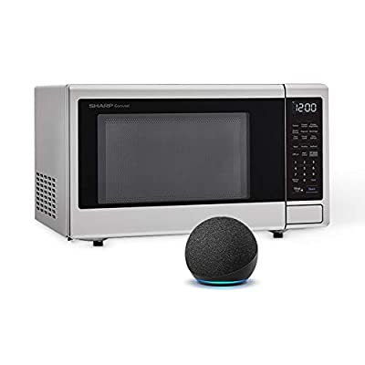 Sharp Compatible with Alexa Smart Countertop Microwave Oven, 1.4 Cubic Foot, Stainless Steel, with Echo Dot (4th gen), Charcoal