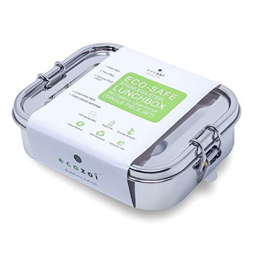 Ecozoi Stainless Steel Lunch Box Food Pack   LEAK PROOF with BONUS POD and Locking Clips   Sustainable Food Storage Container, 1000 ml Capacity
