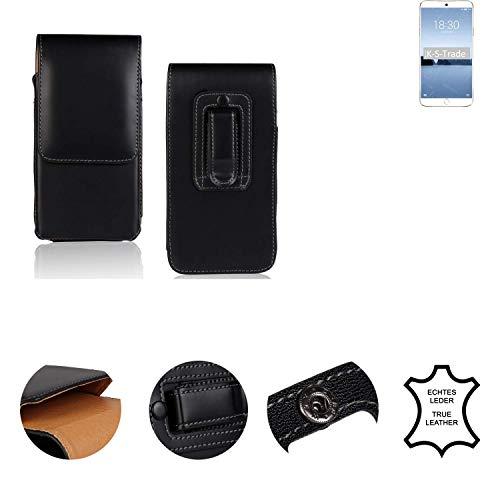 K-S-Trade® Holster Gürtel Tasche Für Meizu M15 Handy Hülle Leder Schwarz, 1x