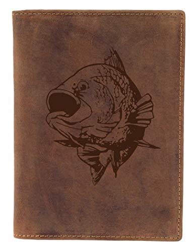 Greenburry Ausweismappe mit Fisch Motiv braun - 100% Leder - Lederhülle mit Karpfen Motiv - 16,5x1,5x12cm