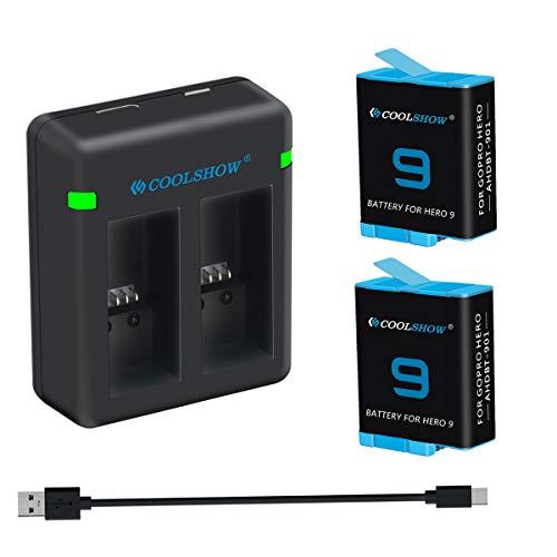 COOLSHOW 2 Akkus mit 2-Kanal USB Speicherladegerät für GoPro Hero 9 Black,GoPro Hero 9