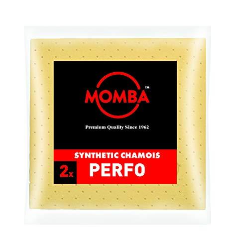 VDM Home Products Momba® Synthetisches FENSTERLEDER GELOCHT 2er Set - für Streifen- und fusselfreie Reinigung. Gelocht für verbesserte Saugfähigkeit und Flexibilität. Besonders langlebig