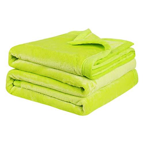 PiccoCasa Kuscheldecke Tagesdecke Fleecedecke mit Rand Microfaser Decke Weiche Warme Leichte Decke 330GSM für Bett Sofa usw. Apfelgrün 170x230cm