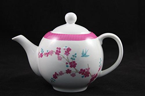 Teekanne Porzellan Lotus rund, klassisch mit zartem Blumendekor, für 4-6 Tassen