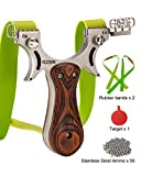 RCZZSUWE Professional Hunting Slingshot with Bands Ammo Stainless Steel Slingshots for Adult Wooden