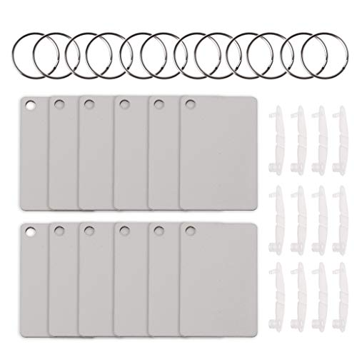Buwei 12 Sublimation Hartfaserplatten-Schlüsselringe Doppelte bedruckbare Leere MDF-Schlüsselanhänger