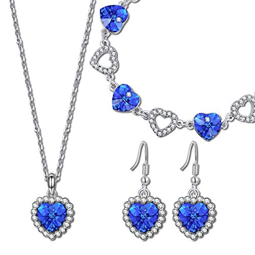 QIANSE Jewelry Set Gifts for Her for Women Blue Heart Swarovski Crystals Titanic Jewelry Women Heart Necklace Tennis Bracelet Earrings Set Christmas Birthday Gifts