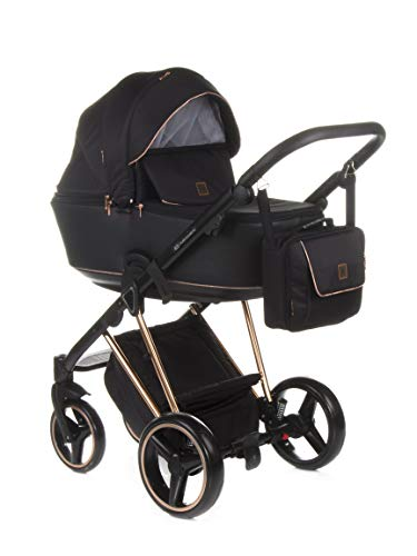 Poussette combinée Adamex Cristiano + sac à langer avec matelas à langer + film + moustiquaire + porte-gobelet et manchons d'hiver (CR-408 noir – or rose)