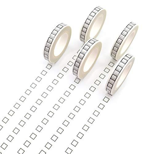 MAOYYM 10 m * 8 mm creativo nero quadrato Washi nastro adesivo ad alta colla Masking Tape per ufficio fai da te Riss Adhesive Paper Tape Diy libro diario