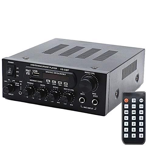 Mochatopia Bluetooth Verstärker Karaoke Mächtig, Mini AV-Receiver HiFi Audio Stereo Musik 2.0 Kanal Endstufe Netzteil 120 Watt für PC Handy TV Party
