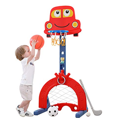 KIMI HOUSE Basketball Hoop Set with 6 Adjustable Height Levels, Indoor & Outdoor Activity Center Basketball Hoop Football / Soccer Goal Ring Toss Golf, Best Gift for Toddlers and Kids