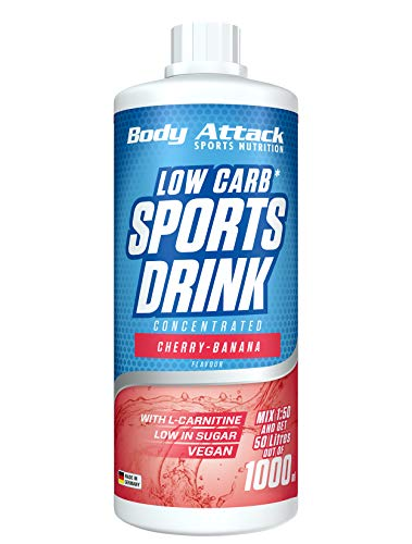 Body Attack Low Carb Sports Drink, Sportgetränkekonzentrat ergibt 50 Liter, zuckerfrei - und kalorienarm, vegan mit Carnitin & Vitaminen, Cherry Banana / Kirsch Banane, (1 x 1000ml)