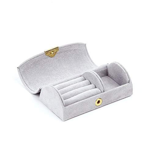 Yuan Ou Joyero Caja Joyero Caja De Terciopelo Portátil 3 Colores Soporte De Anillo S Blanco