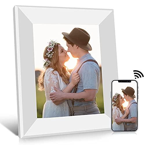 Digitaler Bilderrahmen 8 Zoll WLAN Elektronischer Fotorahmen, 1080P IPS Touchscreen, Foto/Musik/Video-Player Kalender Wecker