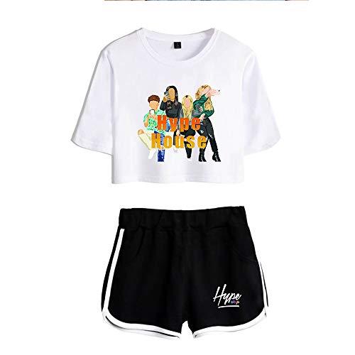 HYPETY Filles The Hype House Crop Tops + Shorts Ensembles, T-Shirt À Manches Courtes Et Ensemble De Shorts Survêtement Summer Casual Sportswear,White 1,L