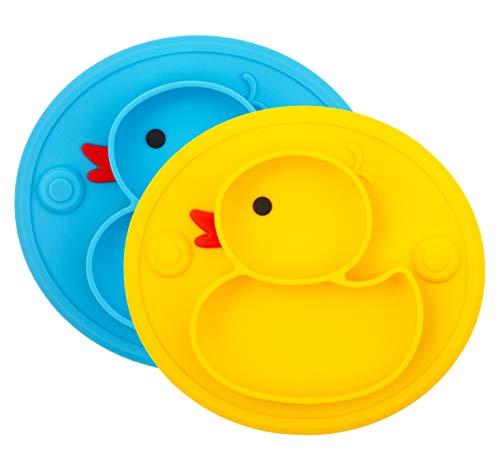 Piatto per bambini in silicone, Tappetini Antiscivolo con forte aspirazione adatta FDA e BPA Portatile per seggiolone e viaggi per Neonati Tovaglietta Piastra Divide, Regalo Svezzamento Battesimo