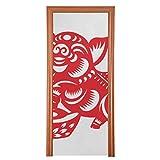 Porte décorative papier traditionnel chinois cochon rouge porte décorative tissu durable portes coulissantes décoratives multi taille protecteur de porte pour chambre à coucher maison cuisine décora
