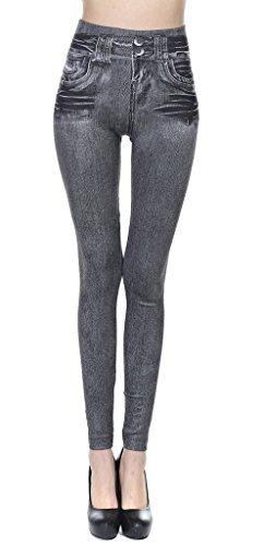 Bigood Femme Leggings Simili Jeans Collant Elastique Moulante Slimmer avec Poche Gris L