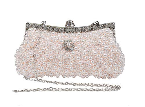 Perlé Diamanté Sac à Main Pochette de Soirée Chic Gracieux Pour Mariage Cérémonie Bal Femme (Champagne Rose)