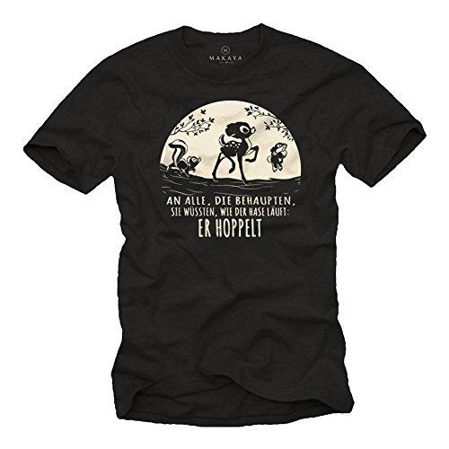 Camiseta Divertidas Hombre Manga Corta - Comic T-Shirt con Frases graciosas Negra L
