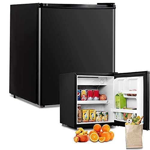 RELAX4LIFE 48L Mini-Kühlschrank, Kühl-Gefrier-Kombination mit Temperaturregelung, Getränkekühlschrank mit verstellbaren Füßen & wechselbarem Türanschlag, Flaschenkühlschrank mit Gefrierfach (Schwarz)