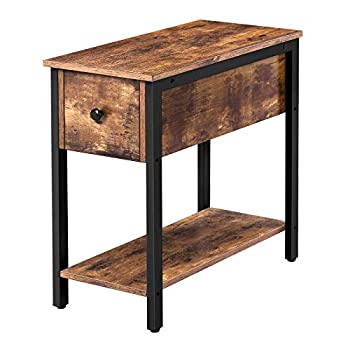 HOOBRO Side Table 2-Tier Nightstand with Drawer Narrow End Table for Small Spaces Stable and Sturdy Construction Wood Look Accent Furniture with Metal Frame Rustic Brown and Black BF04BZ01