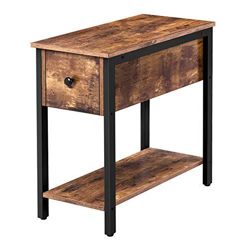 HOOBRO Beistelltisch, Nachttisch mit Schublade, Klein Sofatisch mit Ablage, Schmaler Nachtschrank im Industrie-Design, einfach zu montieren, für Wohnzimmer, Dunkelbraun EBF04BZ01