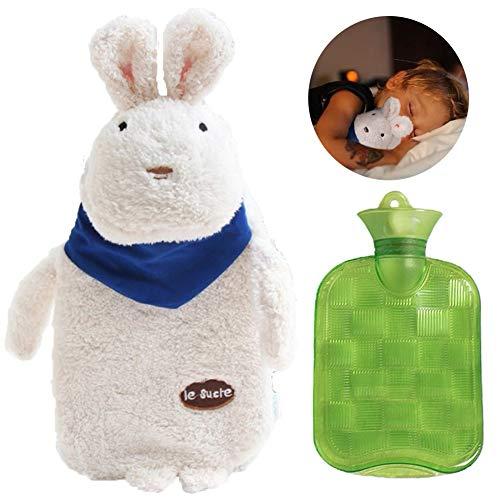 xlmhs Wärmflasche, Wärmflasche mit Weiche und Abnehmbare Plüsch Kaninchen Bezug Babywärmflasche 1 Liter Bett Wärmflaschen für Schnell Heizen Werden Halten und Sparen Sie Auf Heizkosten