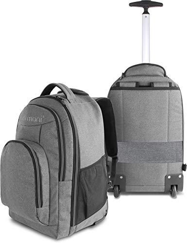 normani Rucksack mit Trolleyfunktion - 30 Liter Volumen Rucksacktrolley zum ziehen mit Laptopfach für Schule, Uni, Reisen, Ausflüge oder Einkaufen Farbe Grau
