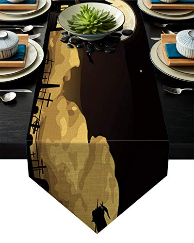 Halloween Night Castle and Witches Black Table Runner