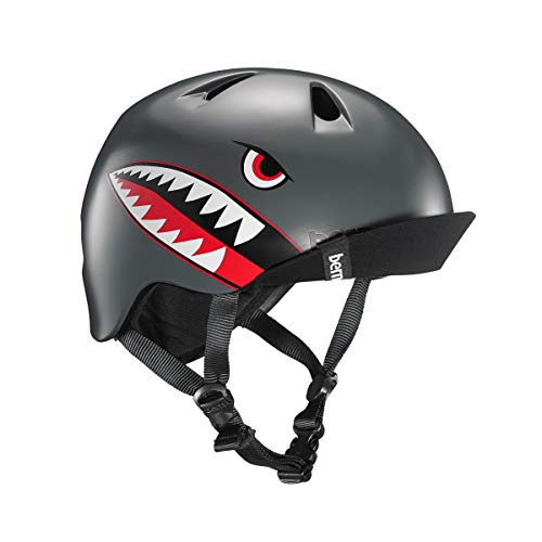 New BERN - Kid's Nino Helmet, Satin Grey Flying Tiger w/Flip Visor, XS/S