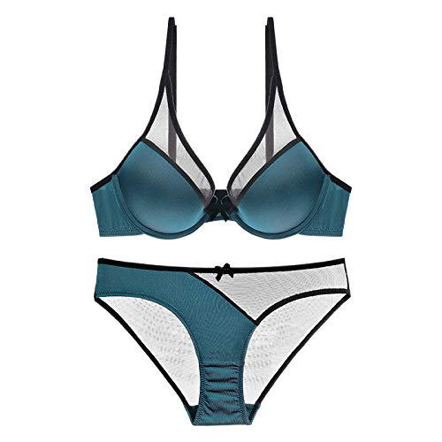 PUSH-UP Top con Allacciatura Al Collo Bikini Con Paisley Pattern-Blu