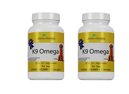 Aloha Medicinals - K9 Omega - Certified Organic - 3 Blend Fish Oil Formula – Veterinarian Recommended – Anti-Inflammatory - Optimum Cell Repair- Cardiovascular Support - Healthy Skin and Coat (2 Pack)
