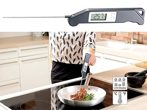 Rosenstein & Söhne Küchenthermometer: Digitales Haushalts-Thermometer, klappbar, 13-cm-Fühler, bis 200 °C (Zuckerthermometer Digital)