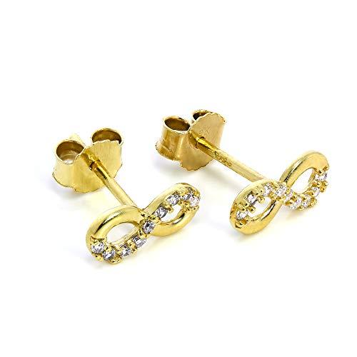Pendientes de Oro de 9 Quilates y Circonitas...