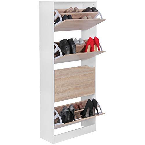 FineBuy Schuhkipper mit 4 Fächern FB45015 für 24 Paar Schuhe   Moderner Schuhschrank in Sonoma Weiß   Schuhkommode 60 x 24 x 150 cm