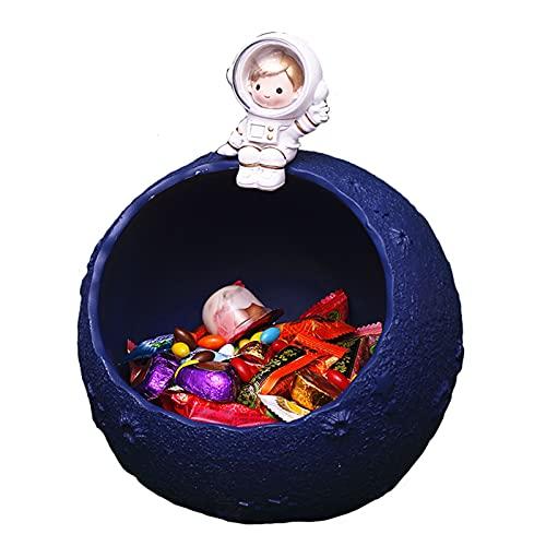 WXHXSRJ Astronauta innovadores Adornos nórdicos, Recipiente de Comida para Dulces, Cuenco de Almacenamiento de Llaves, Muebles de decoración del hogar para Sala de Estar,Navy Blue