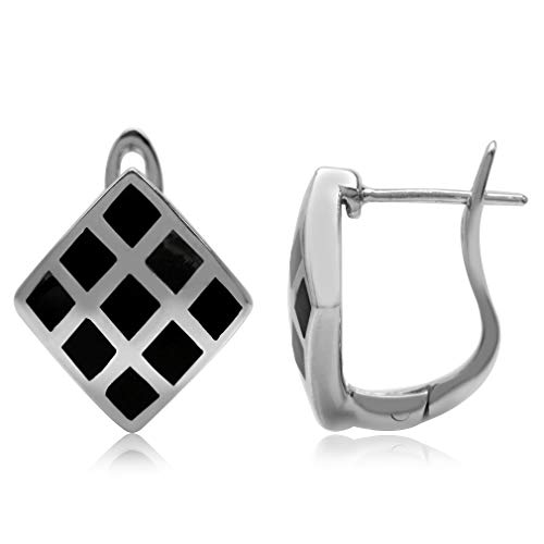 Silvershake Created Black Onyx Inlay White Gold Plated 925 Sterling Silver English Hook Earrings