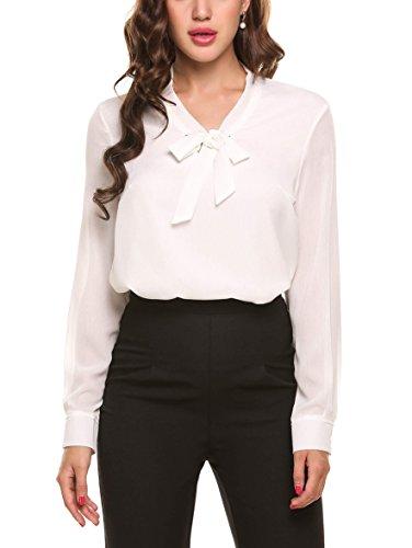 ACEVOG Damen Bluse Classics Sommer Lockere V-Ausschnitt Chiffon T-Shirt Basic Schluppenbluses Bluse Langarmshirt Einfarbig Weiß XL, Weiß