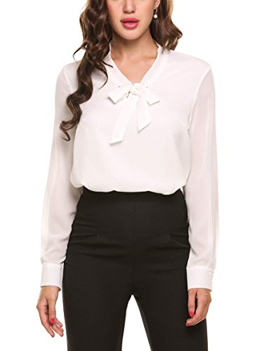 ACEVOG  Damenshirts Classics Lockere V-Ausschnitt Schirt Basic Schluppenbluses Bluse Langarmshirt Einfarbig M,  Weiß