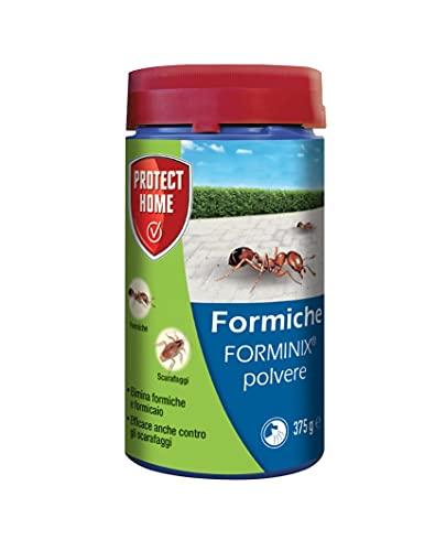 PROTECT HOME Forminix Insetticida in Polvere per eliminare formiche, scarafaggi, pesciolini d'Argento e Altri Insetti striscianti, 375g