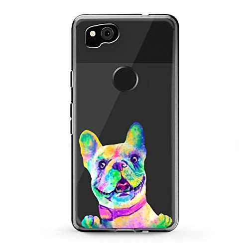 Lex Altern TPU Case Compatible with Google Pixel 4a 5G 5 XL 3a 3 XL 2 XL 2020 French Bulldog Smooth Print Colored Dog Design Slim fit Soft Art Funny Animal Cover Clear Lightweight Girls Paw