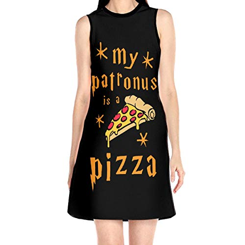 WAYMAY My Patronus is A Piece of Pizza Dress Sleeveless A-Line Dress Tank Dresses Elegant Dress...